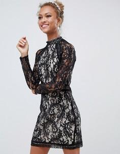 Кружевное платье с длинными рукавами Parisian - Черный