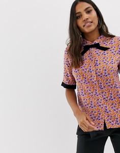 Рубашка с принтом и контрастной отделкой Vila retor - Мульти