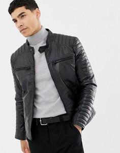 Стеганая кожаная куртка с 4 карманами Barneys Originals - Черный