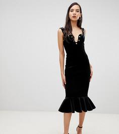 Бархатное премиум-платье миди облегающего кроя с заклепками ASOS DESIGN Tall - Черный