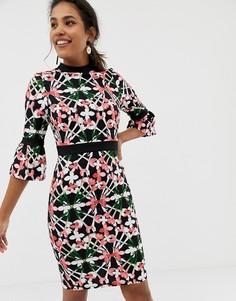 Платье с цветочным принтом и расклешенными рукавами Paper Dolls - Мульти