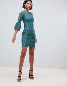 Кружевное платье с расклешенными рукавами Paper Dolls - Зеленый