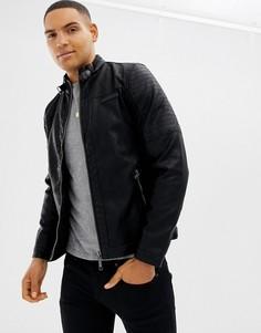 Полиуретановая байкерская куртка Blend - Черный
