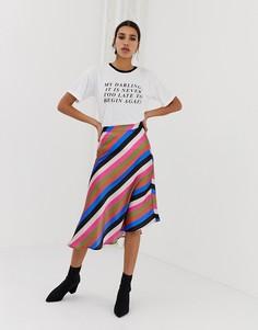 Асимметричная юбка миди в полоску Neon Rose - Мульти