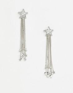 Серебристые броские серьги в виде звездочек из кристаллов с цепочками ASOS DESIGN - Серебряный