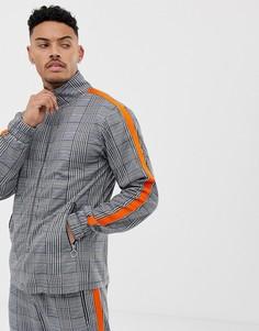 Серая куртка с высоким воротником и полосками на рукавах Liquor N Poker - Серый