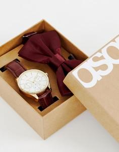 Подарочный набор с часами и галстуком-бабочка ASOS DESIGN - Коричневый