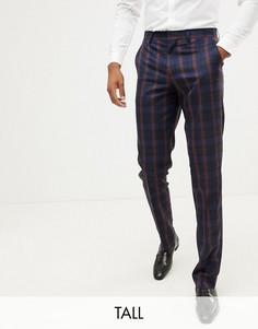 Сине-бордовые брюки слим в клетку Harry Brown Tall - Темно-синий