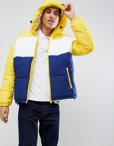 Дутая куртка колор блок с желтыми и синими вставками Schott Alaska - Желтый