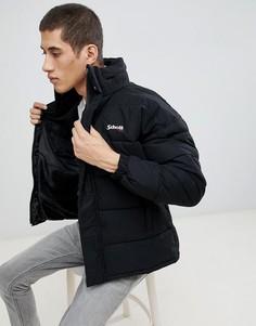 Черная дутая куртка классического кроя со складывающимся капюшоном Schott Nebraska - Черный