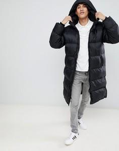Черная удлиненная дутая куртка классического кроя с капюшоном Schott 2190MAX - Черный