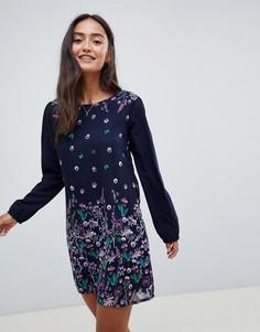 Цельнокройное платье-туника с цветочным принтом Yumi - Темно-синий