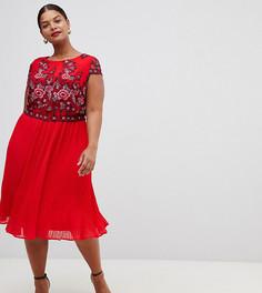Плиссированное сетчатое платье Lovedrobe - Красный