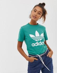 Сине-зеленая футболка с логотипом-трилистником adidas Originals - Зеленый