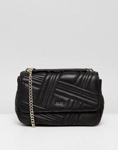 Черная кожаная стеганая сумка на плечо DKNY allen - Черный