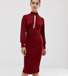 Платье миди с вырезом капелькой и присборенной талией ASOS DESIGN Petite - Красный