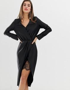 Черное платье с запахом и кружевной отделкой River Island - Черный