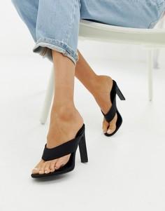 Черные босоножки на каблуке с перемычкой Simmi London - Черный