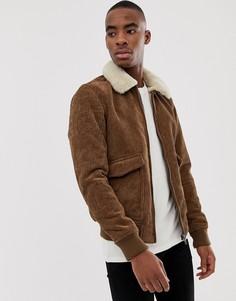 Светло-коричневая вельветовая куртка с воротником из искусственного меха Pull&Bear - Рыжий Pull&;Bear
