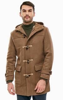 Утепленное коричневое пальто с капюшоном Selected