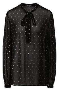Полупрозрачная блузка с декоративной отделкой и воротником аскот Saint Laurent