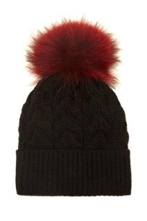 Черная шапка с красным помпоном Dreamfur