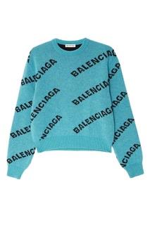 Бирюзовый джемпер с логотипами Balenciaga