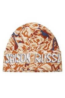 Рыже-коричневая шапка с абстрактным узором 7КА
