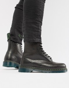 Черные ботинки с отделкой в виде черепа и 8 парами люверсов Dr Martens 1460 - Черный