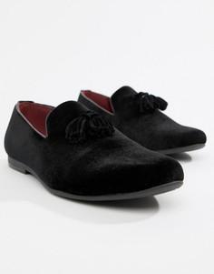 Черные бархатные лоферы с кисточками Truffle Collection - Черный