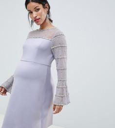 Платье мини с отделкой на рукавах ASOS DESIGN Maternity - Серый