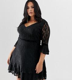 Кружевное короткое приталенное платье Lovedrobe - Черный