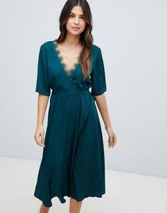 Платье миди с кружевной отделкой Liquorish - Зеленый