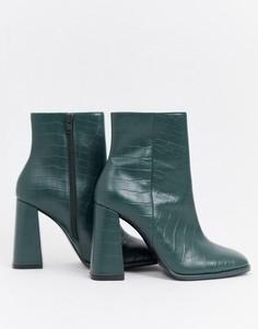 Кожаные ботильоны на каблуке ASOS DESIGN Endless - Зеленый