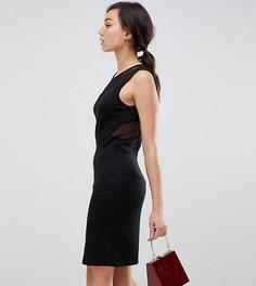 Бархатное облегающее платье мини с сетчатыми вставками YAS TALL - Черный