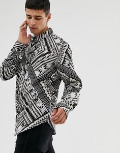 Рубашка с длинными рукавами и ацтекским принтом Another Influecne - Черный