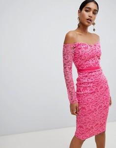 Кружевное платье-футляр с вырезом лодочкой и длинными рукавами Vesper - Розовый