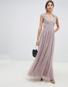 b938acf2644 Платье макси с завышенной талией и вставкой кроше на спине Little Mistress  - Серый