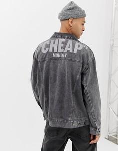 Черная выбеленная джинсовая оversize-куртка со светоотражающим логотипом Cheap Monday - Черный