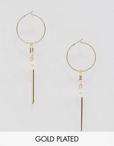 Позолоченные серьги-подвески с искусственным жемчугом Fiorelli - Золотой