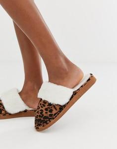 Слиперы с леопардовым принтом New Look - Коричневый