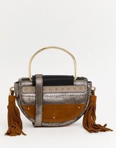 Кожаная сумка через плечо с кисточками светло-коричневого цвета River Island - Медный