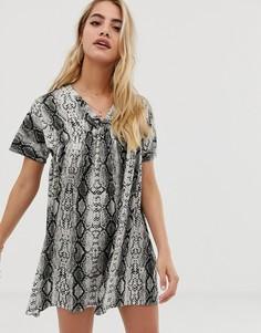 Свободное платье со змеиным принтом ASOS DESIGN - Мульти