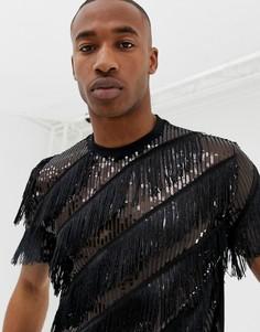 Свободная черная футболка с пайетками и бахромой ASOS DESIGN - Черный