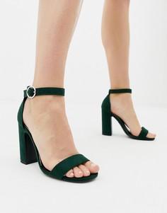Темно-зеленые босоножки на блочном каблуке New Look - Черный