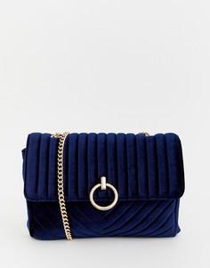 Синяя бархатная сумка на плечо с цепочкой New Look - Синий