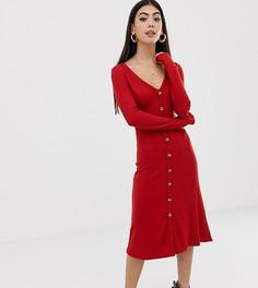 Платье миди в рубчик на пуговицах ASOS DESIGN Petite - Оранжевый