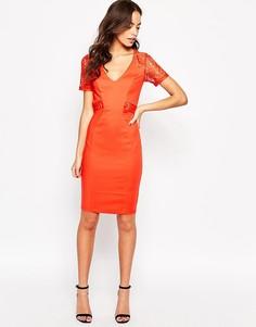 Платье-футляр с кружевной вставкой Paper Dolls - Оранжевый