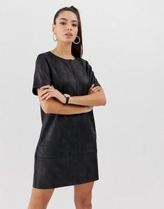 Платье А-силуэта из искусственной кожи ASOS DESIGN - Черный