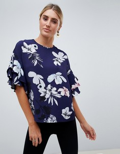 Блузка с цветочным принтом AX Paris - Темно-синий